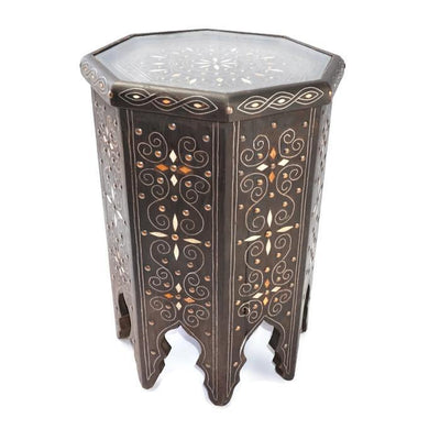 Side Table - Inlay Timber 53cm-Furniture-A Little Morocco