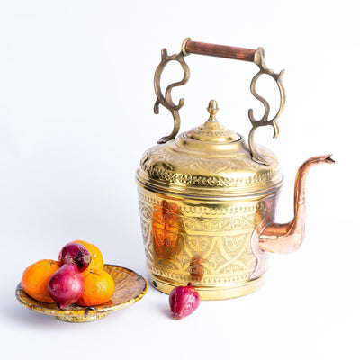 Tableware - Large Brass and Copper Teapot-Tableware-A Little Morocco