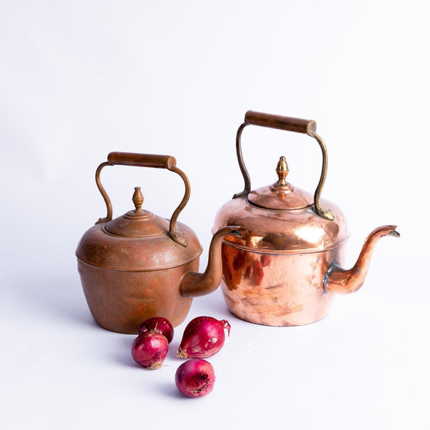 Tableware - Large Vintage Patinaed Copper Teapot-Tableware-A Little Morocco