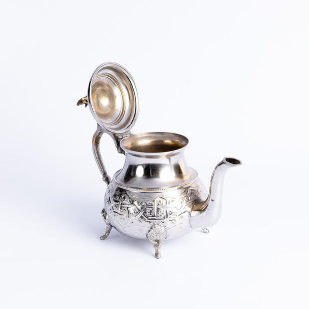 Tableware - Silver Brass Teapot with Bird Tip Lid-Tableware-A Little Morocco