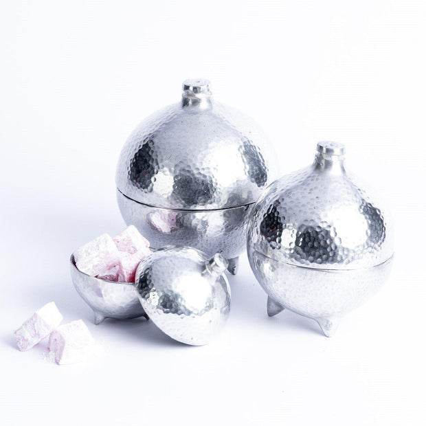 Tableware - Silver Set of 3 Vessels with Lids-Tableware-A Little Morocco