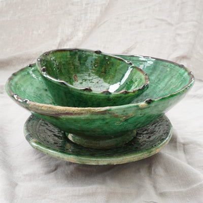 Tamegroute - Green Bowl n' Plate Sets-Tamegroute-A Little Morocco