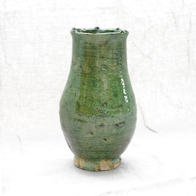 Tamegroute - Green Openmouth Vase 26cm-Tamegroute-A Little Morocco