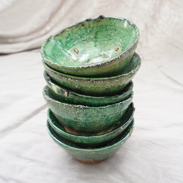 Tamegroute - Set of 2 Green Mezze Bowls 12cm-Tamegroute-A Little Morocco