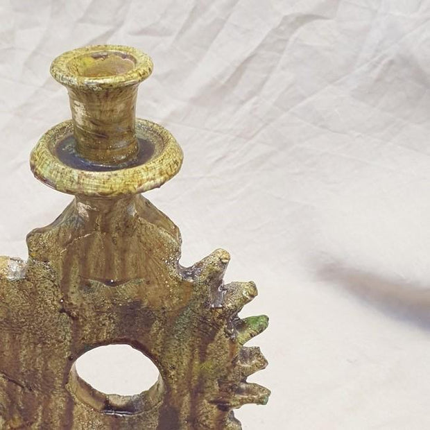 A Little Morocco, Tamegroute Ochre Candle Holder Detail