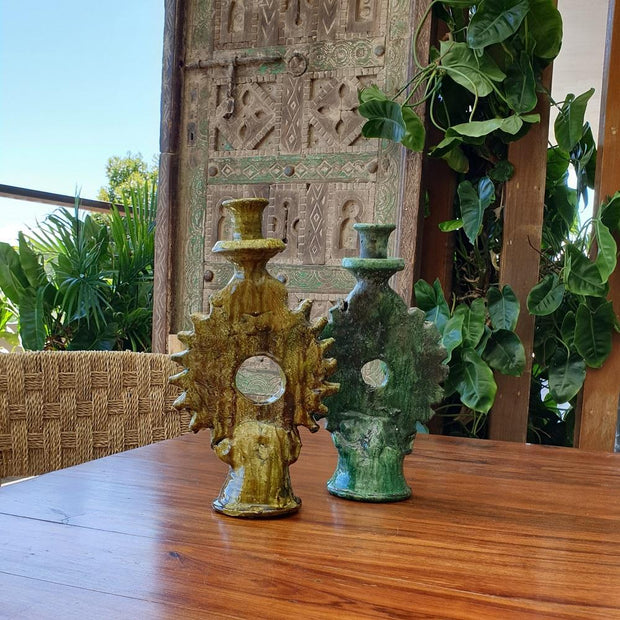 A Little Morocco, Tamegroute Ochre Candle Holder Styled
