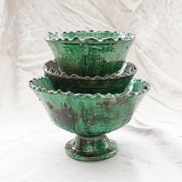 Tamegroute - Green Scalloped Rim Bowl 16cm-Tamegroute-A Little Morocco