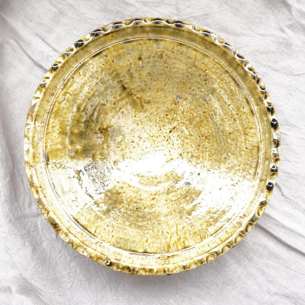 Tamegroute - Ochre Scalloped Rim Platter 32cm-Tamegroute-A Little Morocco