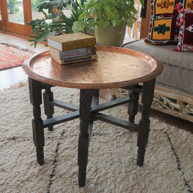 "Tray Table - ""Sparkling Star"" Vintage Copper 64cm-Tray Table-A Little Morocco"