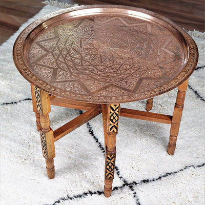 "Tray Table - ""Starry Nights"" Vintage Copper 64cm-Tray Table-A Little Morocco"