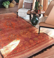 A Little Morocco, Vintage Moroccan rug Blush Burst Styled