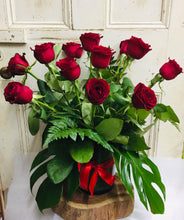 24 Red Roses In Glass Vase