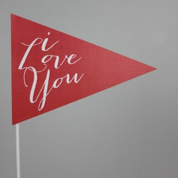 I Love You Flag Red
