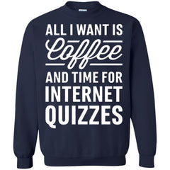 Coffee Internet Shirts ALL I WANT IS COFFEE AND TIME FOR INTERNET QUIZZES T shirts Hoodies Sweatshirts