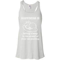 Cat LoversT-shirts Happiness Is Falling Asleep To The Sound Of Your Cat Purring  Shirts Hoodies Sweatshirts