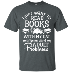 Cat Lovers T-shirts I Just Want To Pet My Cat Drink Coffee And Read Books Shirts Hoodies Sweatshirts