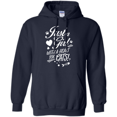 Cats girl Shirts Just a girl with a heart for cats T-shirts Hoodies Sweatshirts - TeeDoggie.Com