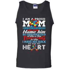 Autism Awareness T-shirts I Am A Proud Autism Mom I Have His Back He Has My Heart Shirts Hoodies Sweatshirts
