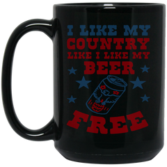 America Beer Mug I LIKE MY COUNTRY LIKE I LIKE MY BEER. FREE Coffee Mug Tea Mug