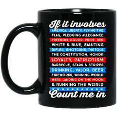 America Beer Mug IF IT INVOLVES AMERICA COUNT ME IN Coffee Mug Tea Mug