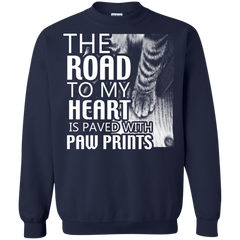 Cat Shirts The Road To My Heart Is Paved With Paw Prints T-shirts Hoodies Sweatshirts - TeeDoggie.Com