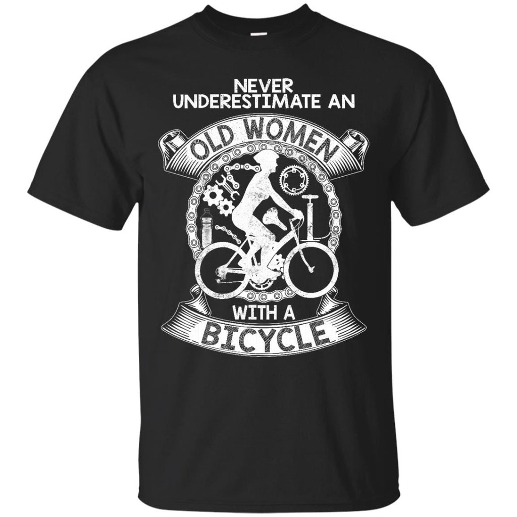 Old Women T-shirts Nevver Underestimate An Old Women With A Bicycle Hoodies Sweatshirts