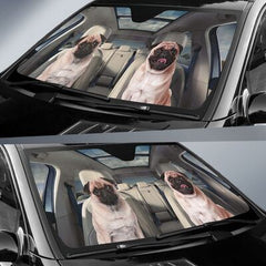 Couple Pug  AUTO SUN SHADE