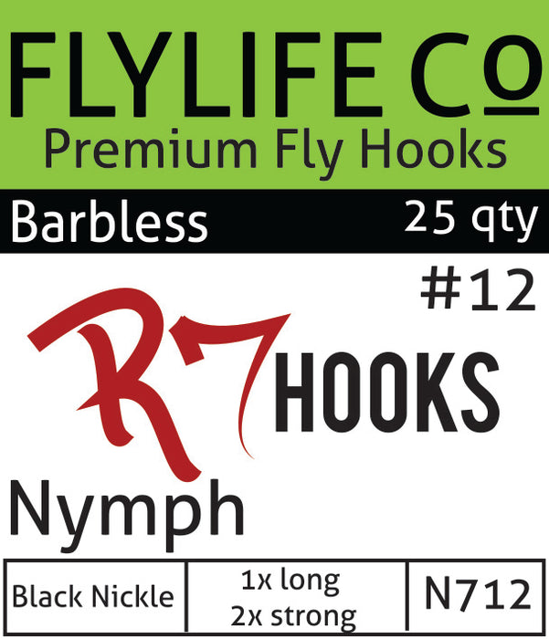 R7 Barbless Nymph Hook 2X Strong