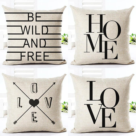 Black And White Simple Word Style Printed Throw Pillows