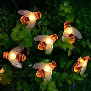 Solar Powered String Lights 30 LED Honey Bee Shape for Garden Decoration