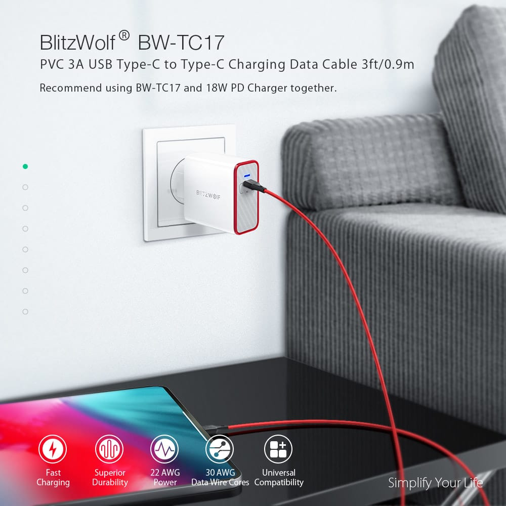 Blitzwolf® Usb Pd Type-c to Type-c Charging Data Cable -