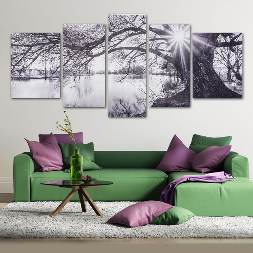 Modern Abstract Decorative Black and White Sun Paintings