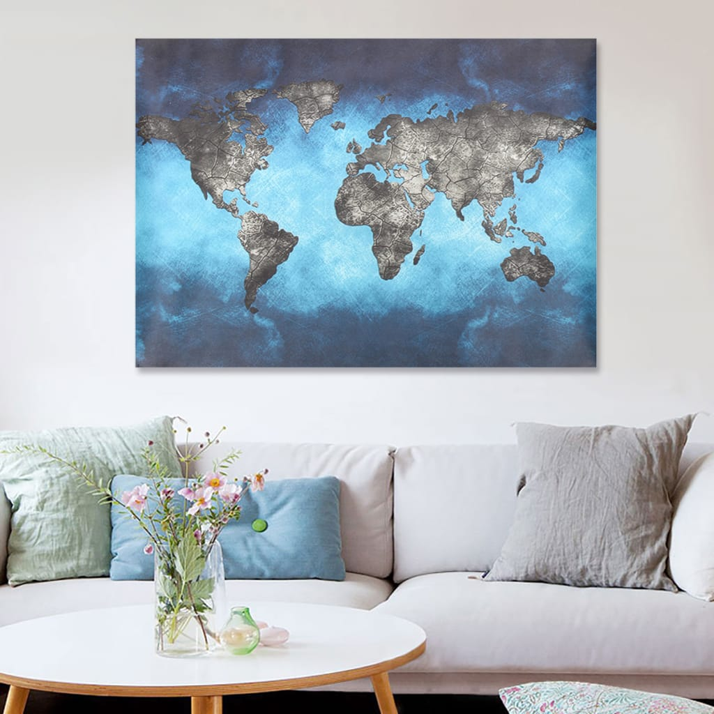 Retro World Map Canvas Paintings Print Picture Unframed - 2