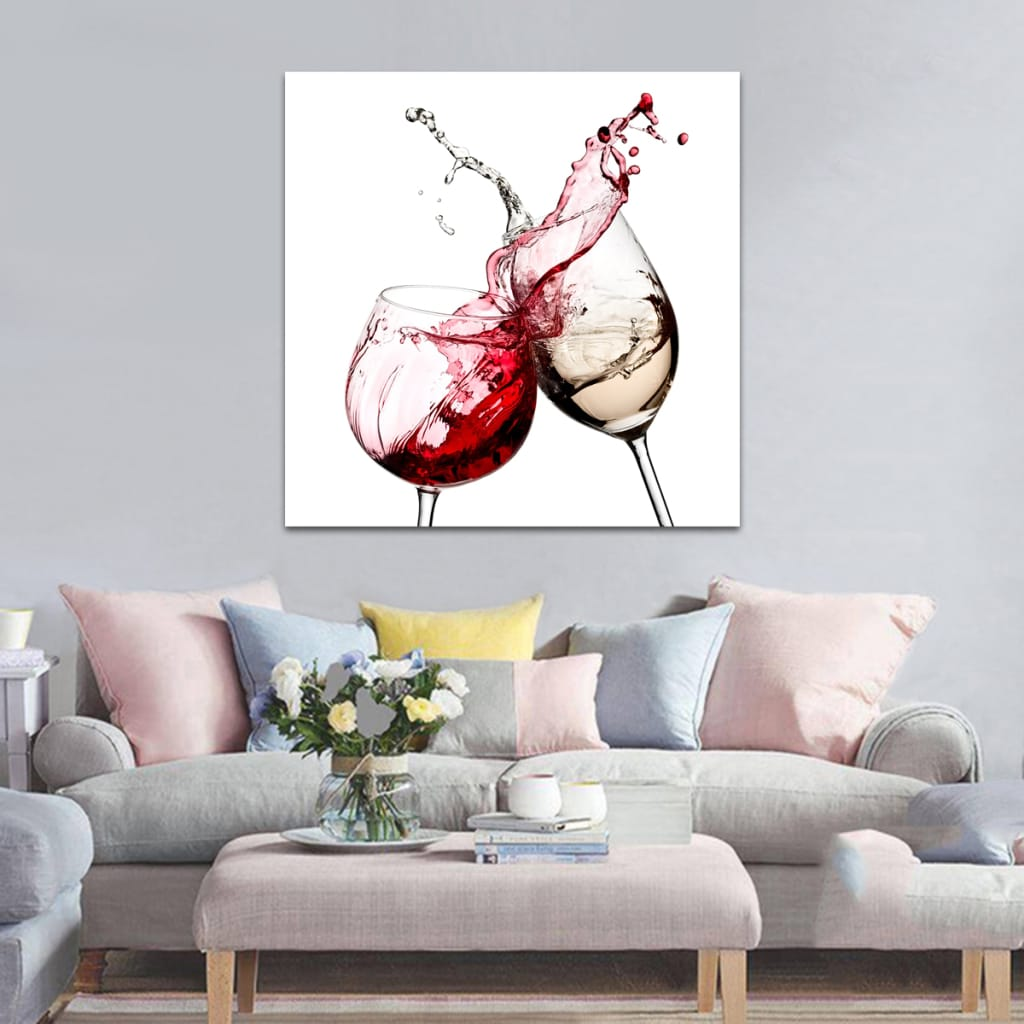 Red White Glasses Kitchen Wall Sticker Art Pictures Unframed