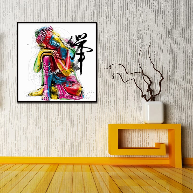 Miico Hand Painted Abstract Colorful Buddha Head Oil