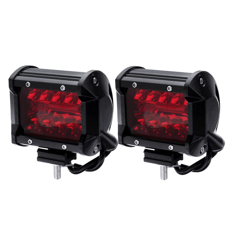 Pair Red 4inch Tri Row 60w 20 Led Work Light Bar Flood Spot