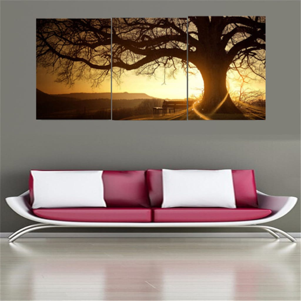 3pcs Sunset Combination Painting Printed on Canvas Frameless