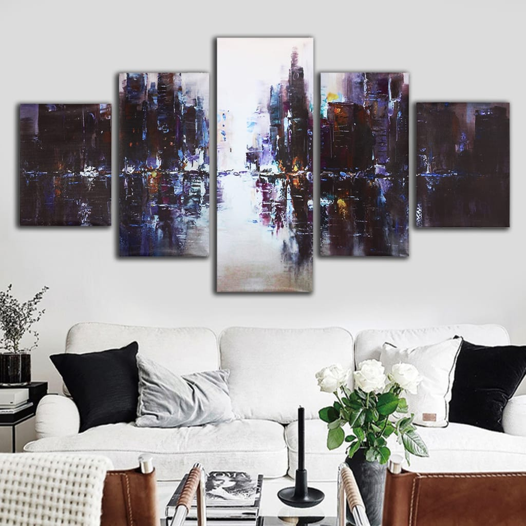 5pcs Abstract Modern City Canvas Print Paintings Picture