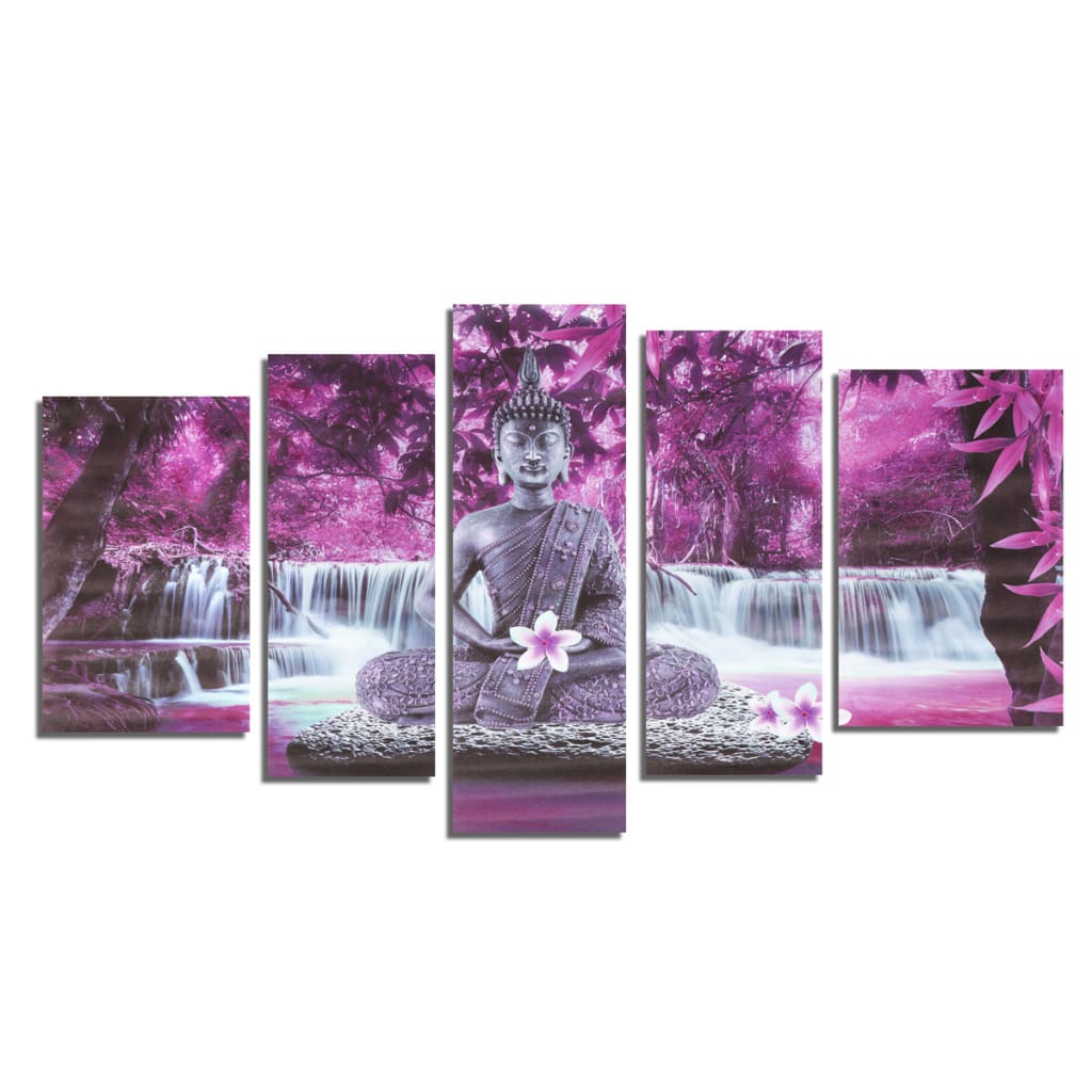 5pcs Buddha Frameless Canvas Print Mural Painting Wall