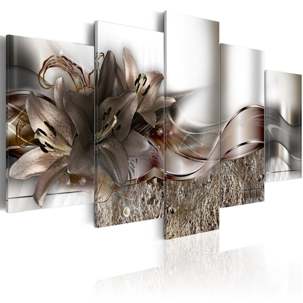 5 Panels Large Abstract Flowers Print Pictures Canvas