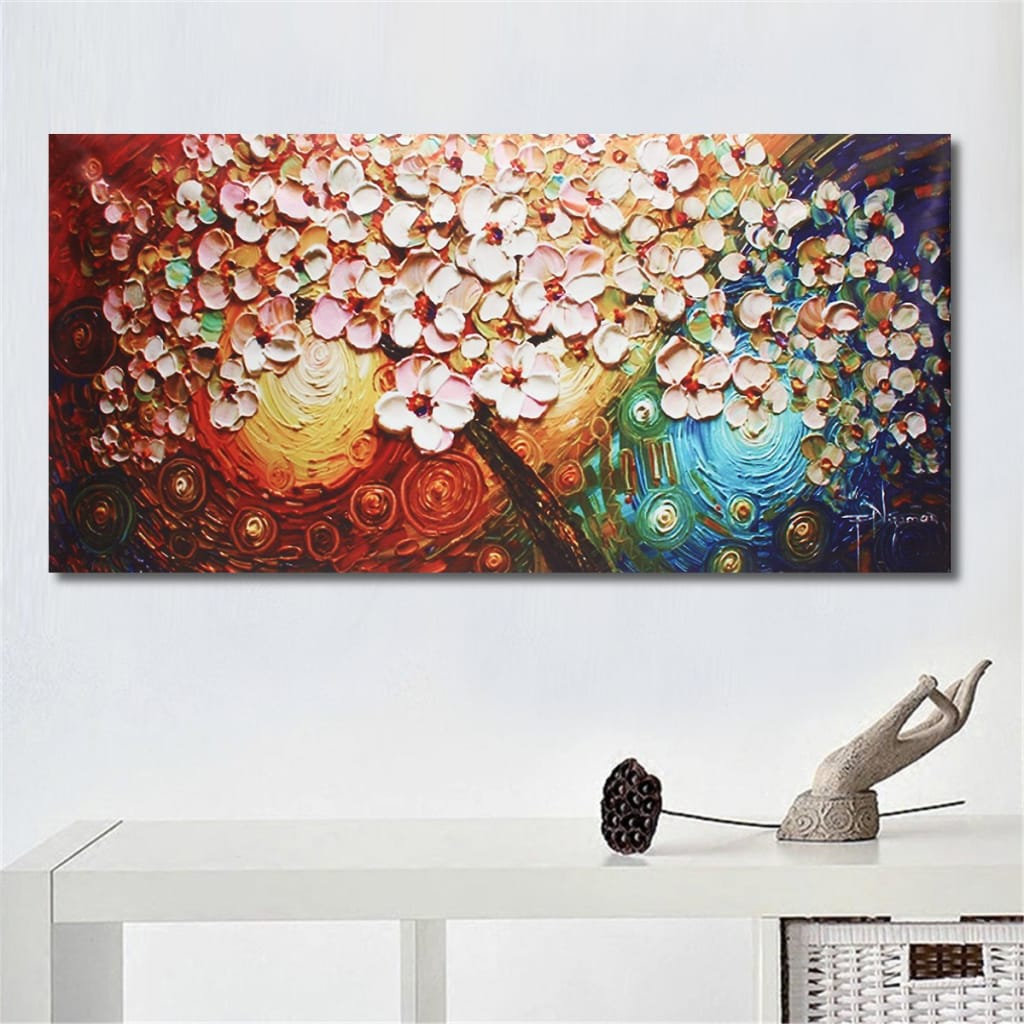 Hand-painted Flower Tree Canvas Abstract Paintings Unframed