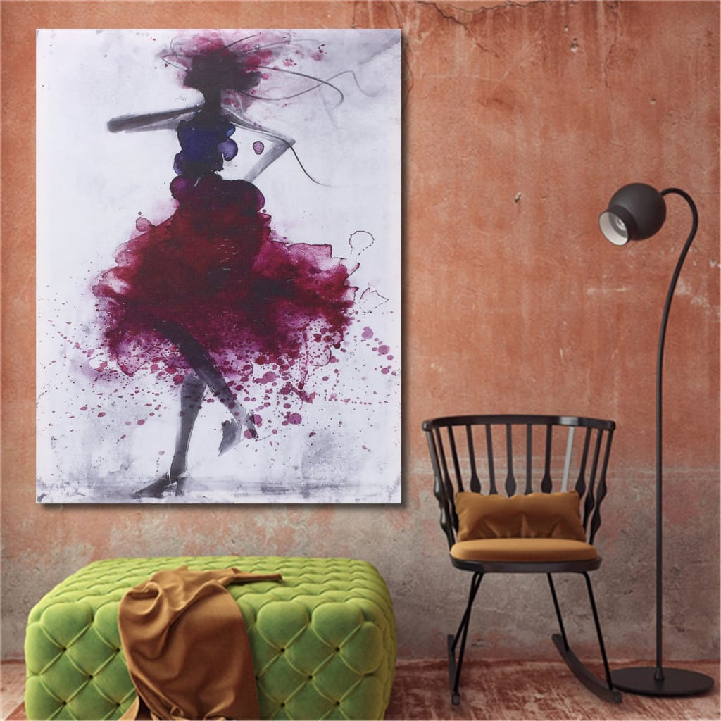 Fashion Red Girl Minimalist Art Canvas Paintings Framed/