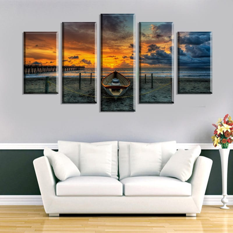5 Cascade the Sea Sunset Canvas Wall Painting Picture Home