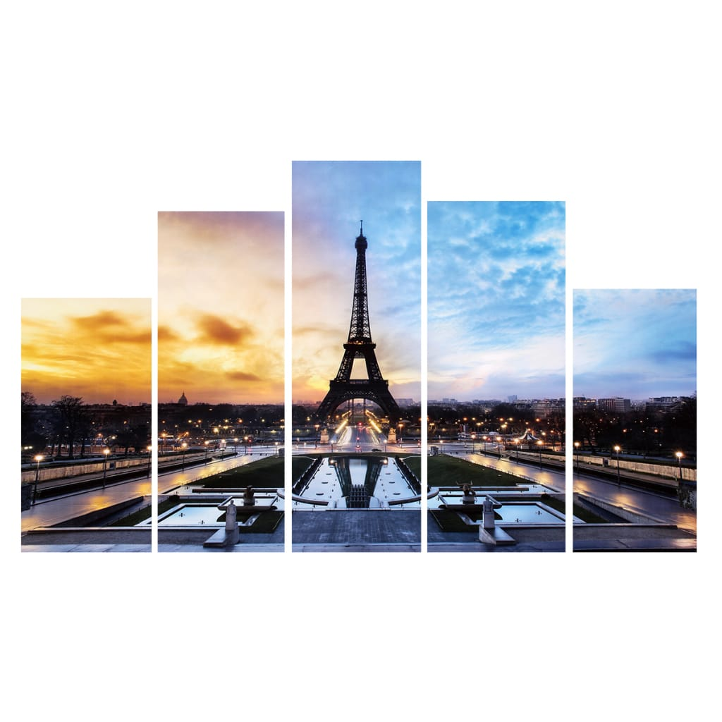 Paris Eiffel Tower Paintings Art 5 Pcs Print Picture no