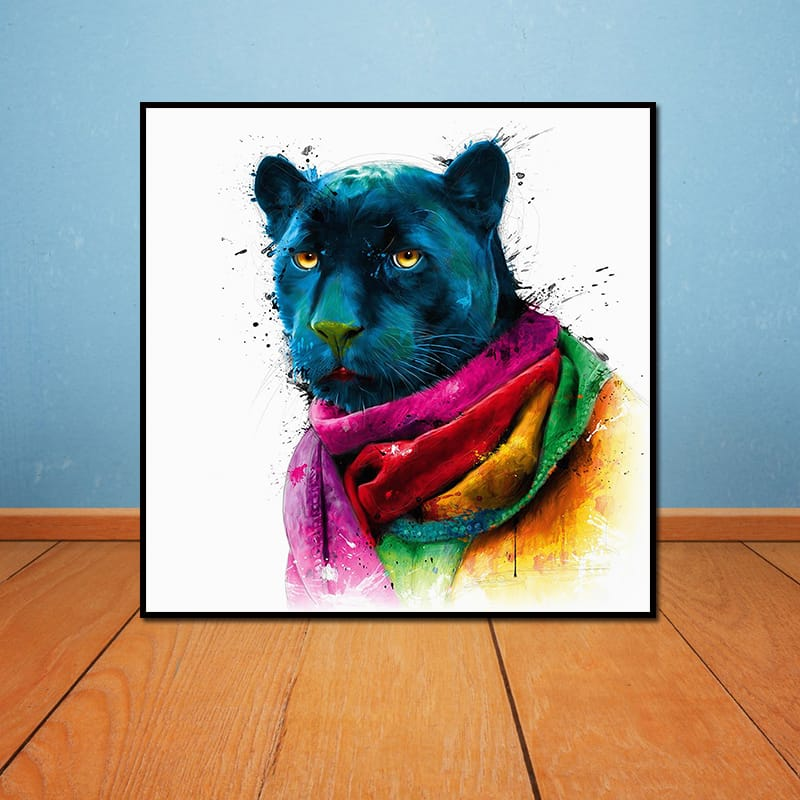 Miico Hand Painted Abstract Colorful Leopard Head Oil