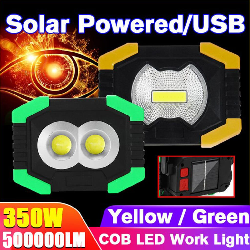 Portable Solar/battery Powered Cob Led Flood Work Light for