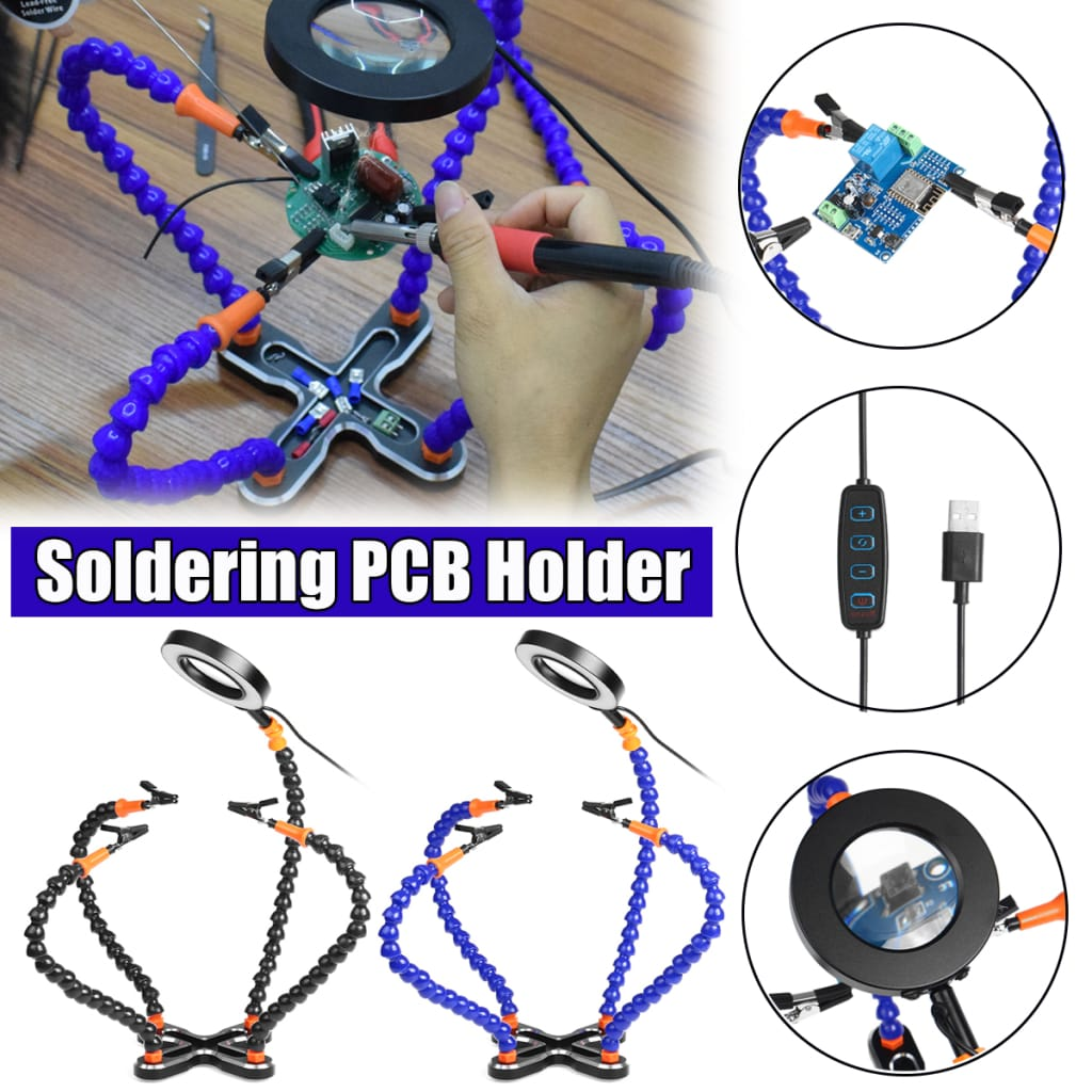 With Led Magnifier Soldering Pcb Holder Led Magnifier Table