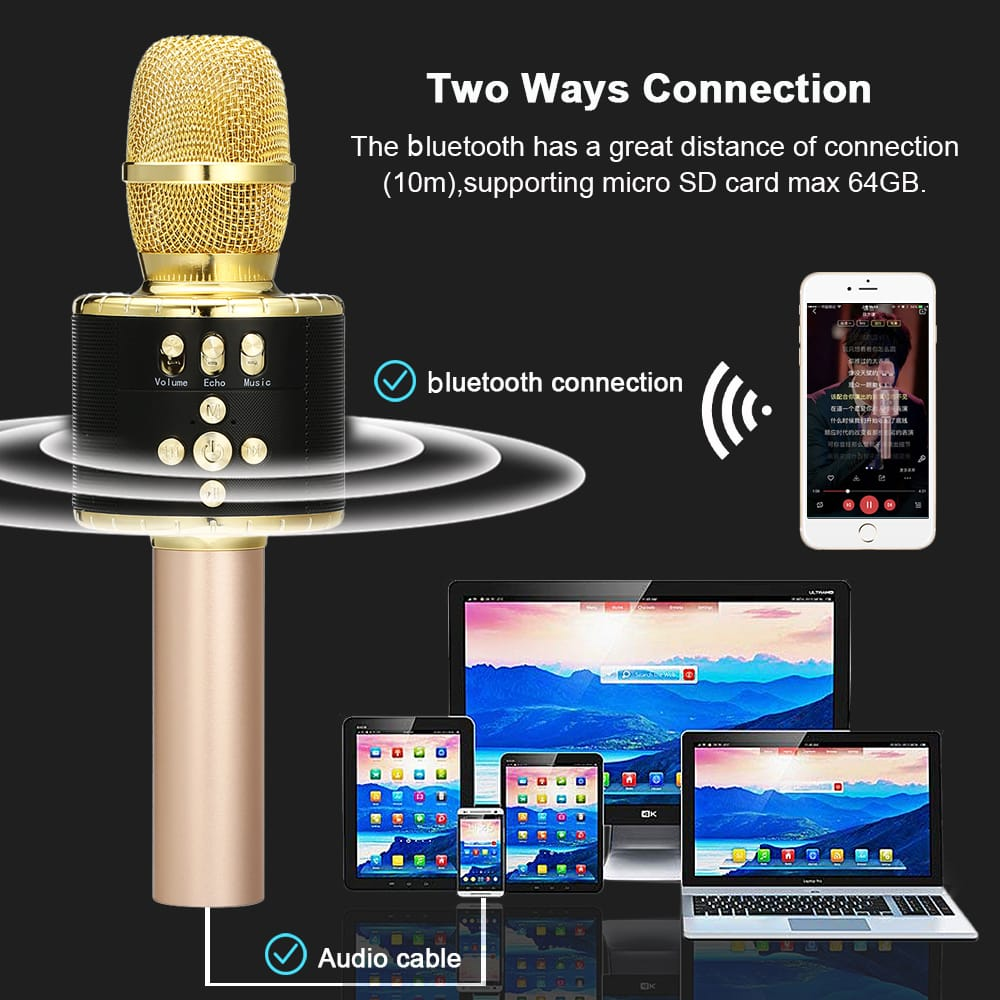 Loskii Wireless Bluetooth Karaoke Microphone Speaker