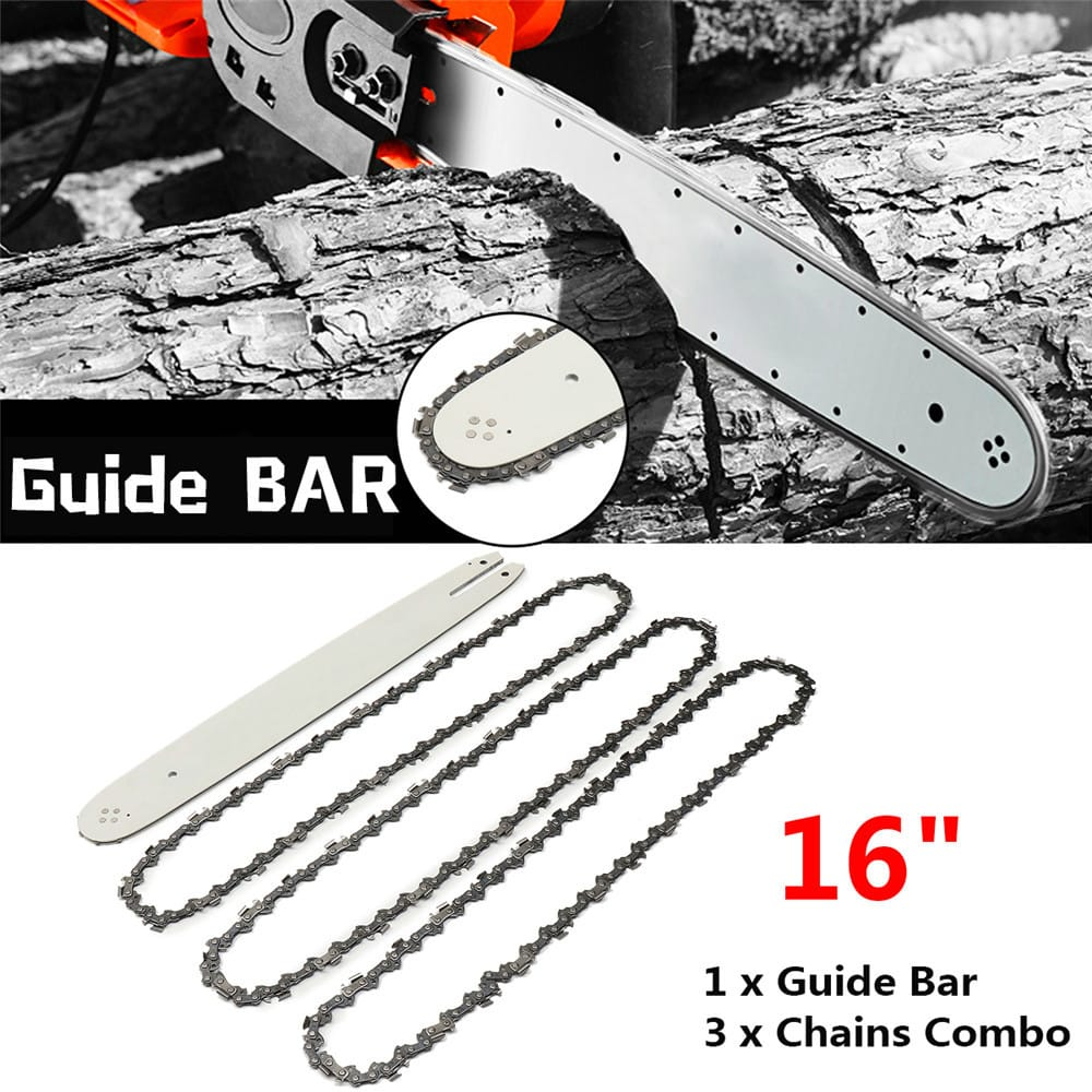 16 Inch Chain saw Guide Bar with 3pcs Chains for Stihl 009