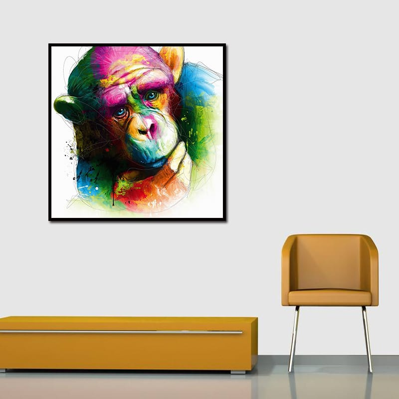 Miico Hand Painted Abstract Colorful Pensive Gorilla Oil